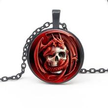 Fashion Retro Pattern Keel Glass Pendant Necklace Gothic Style Necklace Men Women Sweater Chain Jewelry Gift Souvenir Accessorie стоимость