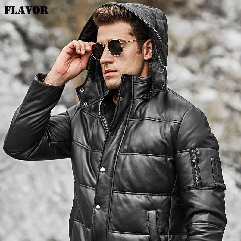風味メンズのリアルレザーダウンコート男性本物の羊バイカー冬暖かいレザーコートとフード