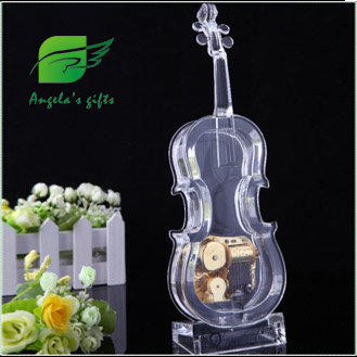 transparent Acrylic Voilin music box, gifts for girls, wedding decoration, home decor free shipping Angela's gifts