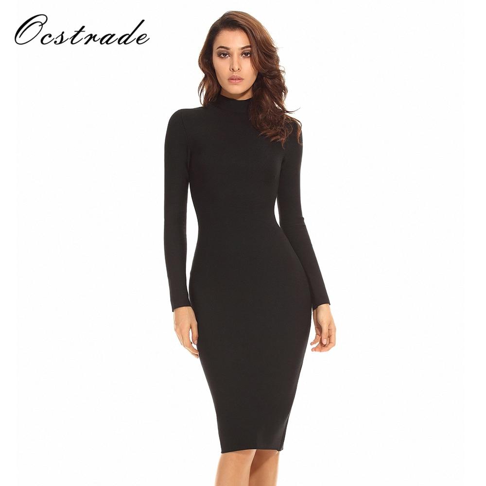 Ocstrade Knee Length Long Sleeve Dress Women Winter Red