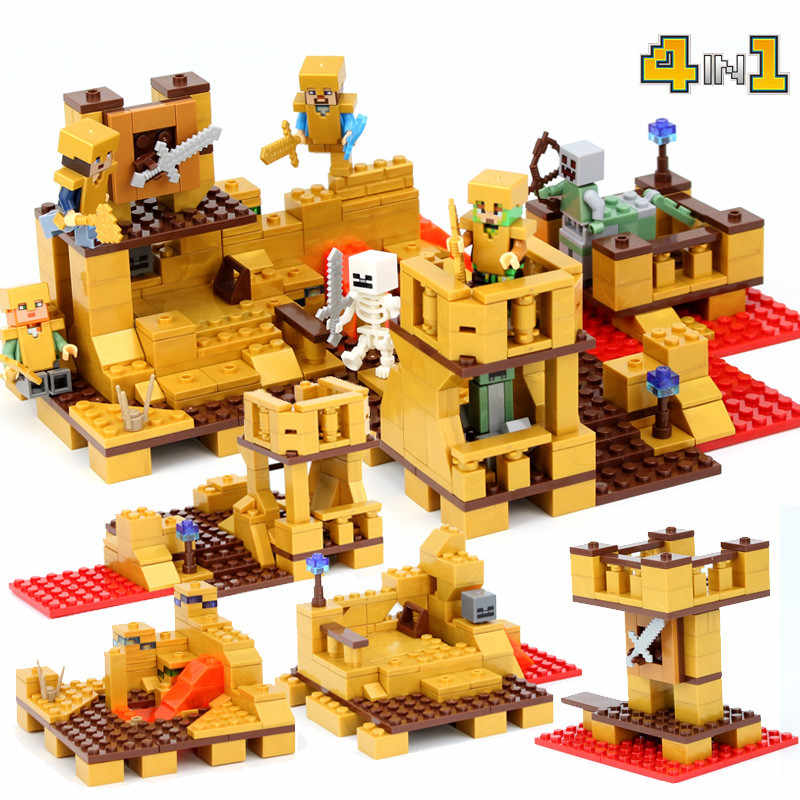 Kids Love New Gold My World Mini Action Figures Model Building Blocks Minecrafted City Children Toys