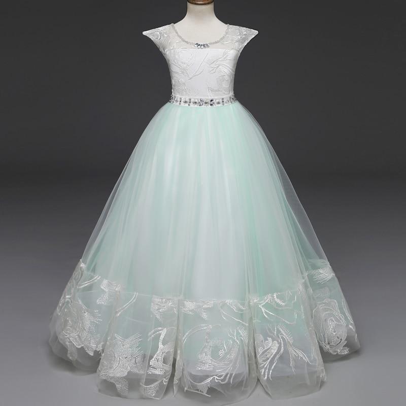 0ec17c69f77 Flower Girl Lace Dress Kids Princess Party Wedding Gowns Elegant Children Party  Prom Long Dress Kids