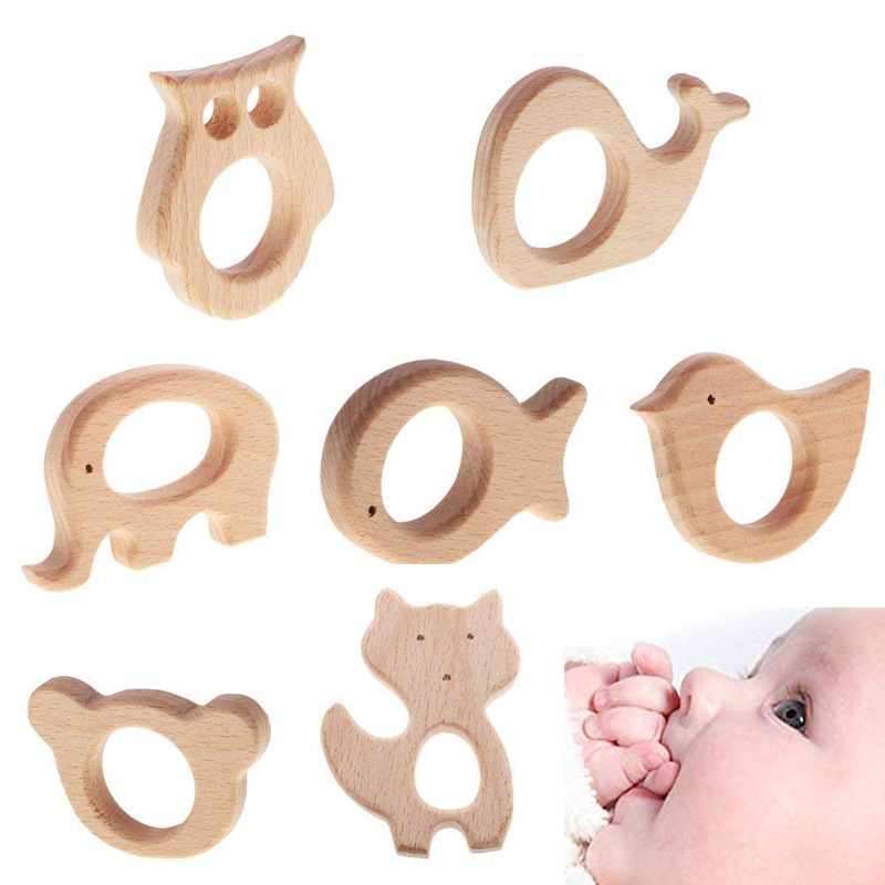 DIY Baby Born Gym Toys Wood Necklace Pendant Food Grade Wooden Teether Toys Tortoise Koala Whale Turtle Wooden Kid Teething Toys