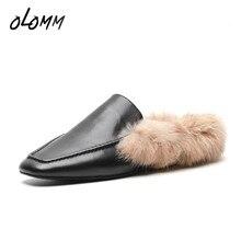 15a6b9b8a Outono Inverno Mulheres Chinelos de Couro Genuíno Couro de Vaca Sapatos  Mulas Verme Lã de Pele