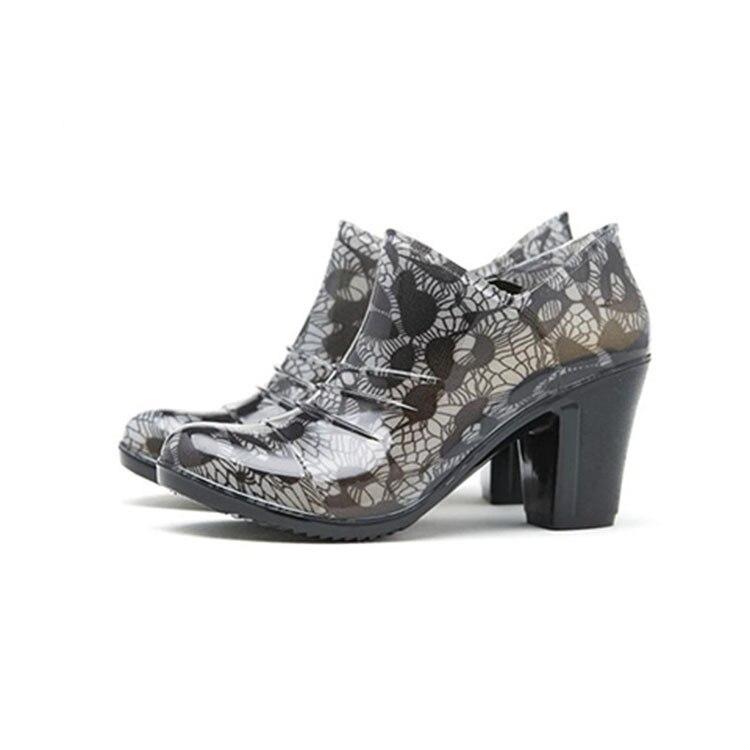 Cheville De Caoutchouc Zip Femmes slip Bout Étanche Pointu gris rouge Coins Med Chaussures En Noir Classiques Non Bottes Pluie Rainboots rwqCrZP