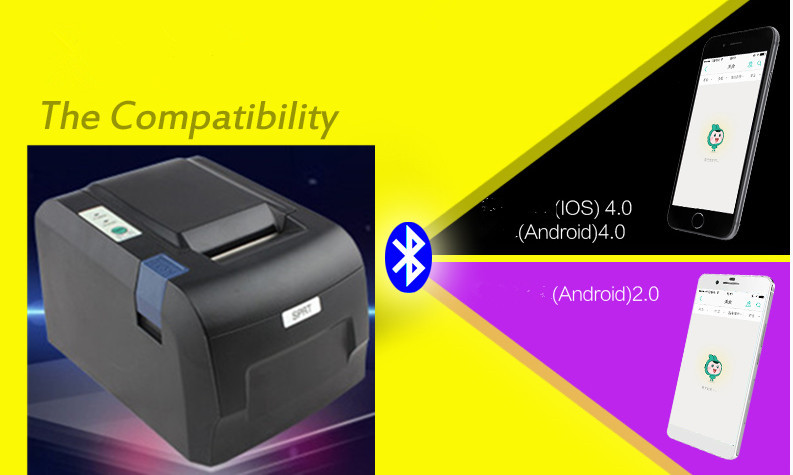 лучшая цена 2016 new POS58IV 58mm thermal printer takeaway Bluetooth printer Andrews Phone wireless Bluetooth (Andrews) + USB
