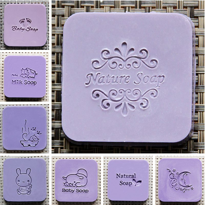5X5CM Soap Seal Stamp Mold Chapter Handmade Natural Acrylic Glass Customized DIY
