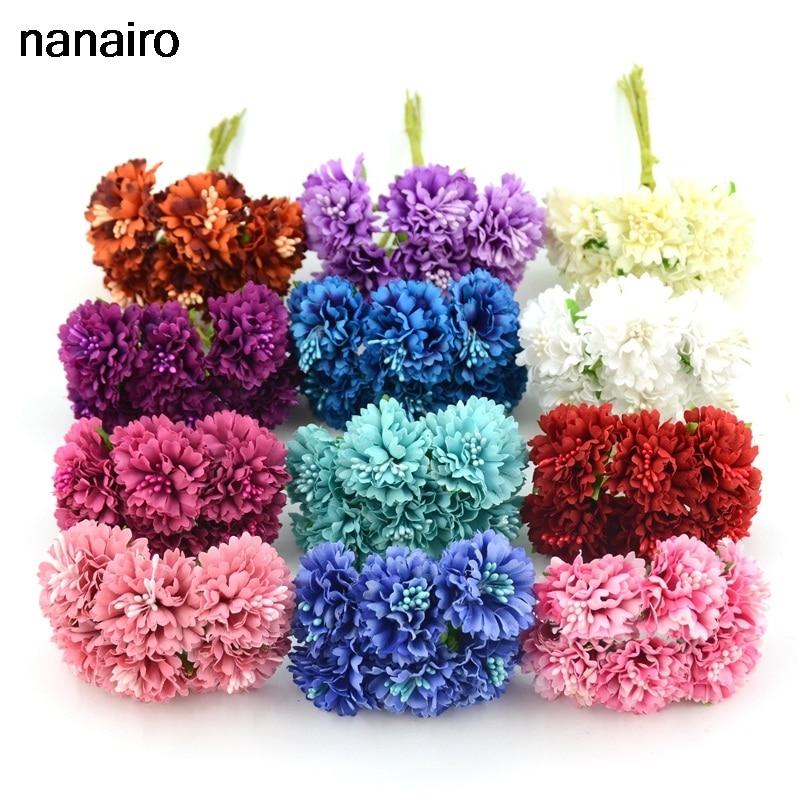 6pcs/lot Silk Chrysanthemum Artificial Flower Bouquet For Wedding Home Decoration Mariage Flores Accessories Rose Flowers