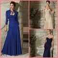 Мода синий шампанское русалка шифон плиссированные модест мать платья мотокуртки лето современная винтаж невесты мать платья