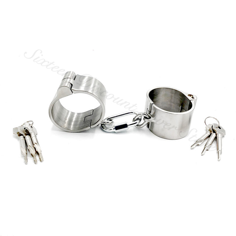 Detachable 4cm High Stainless Steel Handcuffs For Sex BDSM Steel Restraints Fetish Slave Bondage Hand Cuffs Sex Toys For CoupleDetachable 4cm High Stainless Steel Handcuffs For Sex BDSM Steel Restraints Fetish Slave Bondage Hand Cuffs Sex Toys For Couple
