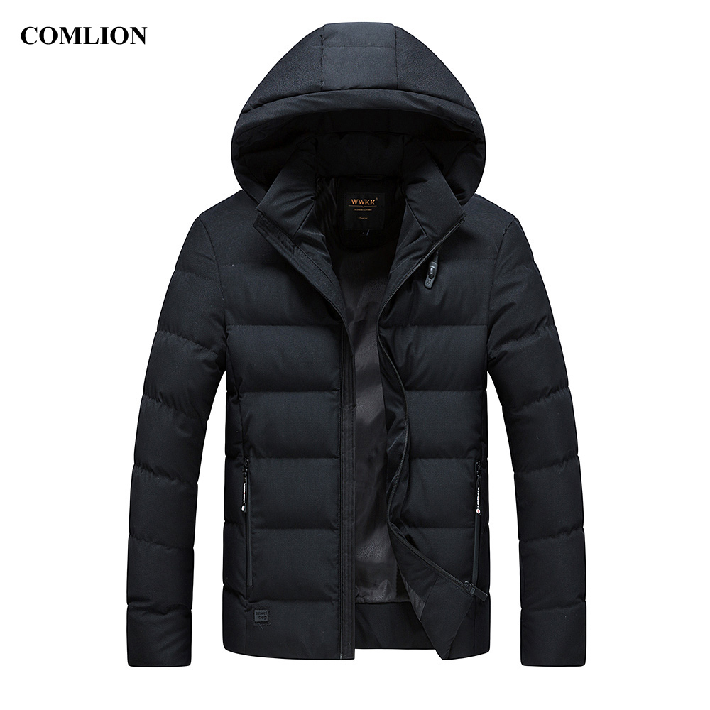 Mens Cotton-padded Jacket Winter Parkas 2018 New Arrival Hooded Coat Plus Size Thick Warm Top Slim Solid Parka Outerwear Hot C82