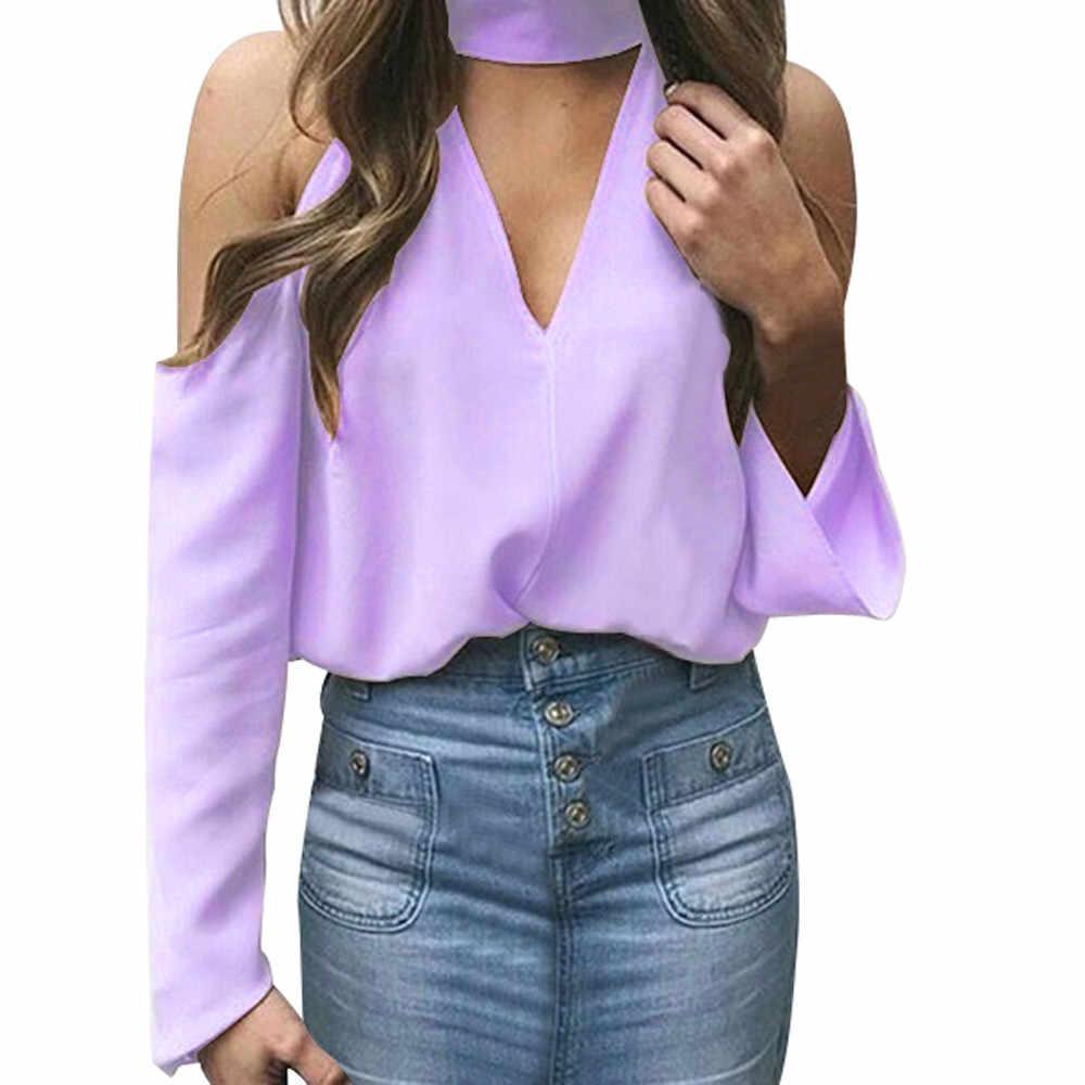 Женские топы и блузки 2018 уличная одежда с открытыми плечами рубашки с длинными рукавами туника открытая женская верхняя одежда женская