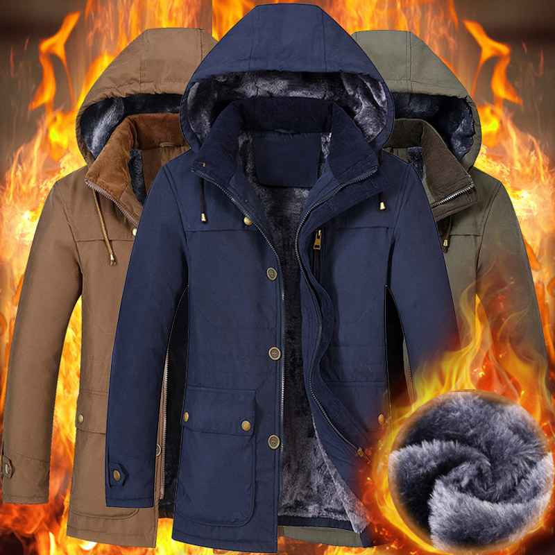 winter fashion casual more thick slim men parkas cotton padded zipper jacket with the wool hoodie