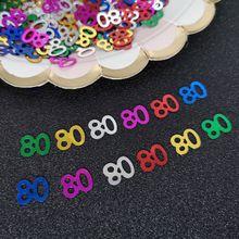 Confeti de mesa número 80 de 15g, 80 ° aniversario, celebración, fiesta, decoración, Confetit, lentejuelas, bricolaje, suministros para fiesta, 833 Uds.