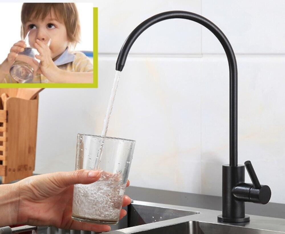 Mat Noir en acier inoxydable Sans Plomb Robinet De Fontaine D'eau Potable Système De Filtration 1/4-Pouces Tube DR980