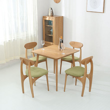 купить Modern Solid Wood Dining Chair Simple Table Dining Chair Combination White Oak Casual Cafe Restaurant Study Japanese Chair дешево