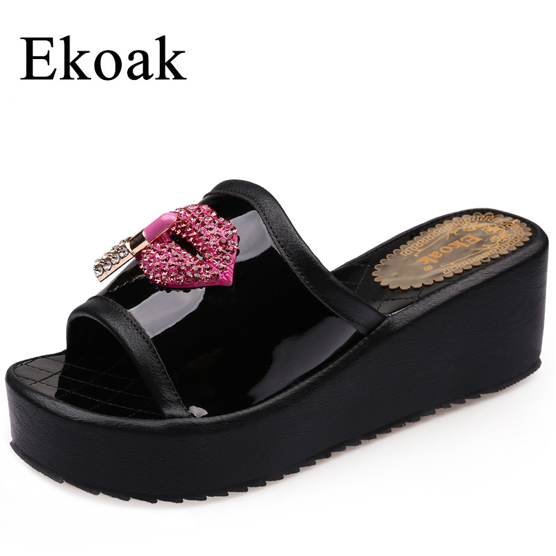 Ekoak New 2017 Summer Fashion Patent Leather Women Slides Crystal Red Lips Ladies Wedges Platform Shoes Woman Sandals women sandals 2017 summer shoes woman wedges fashion gladiator platform female slides ladies casual shoes flat comfortable