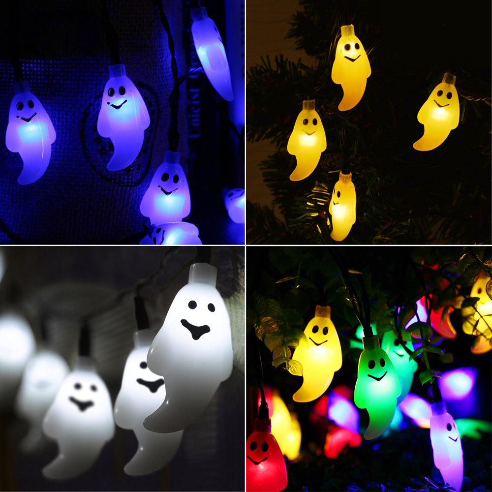 Solar Ghost String Lights 30 LED 6m Fairy Light Halloween Outdoor Holiday Decor
