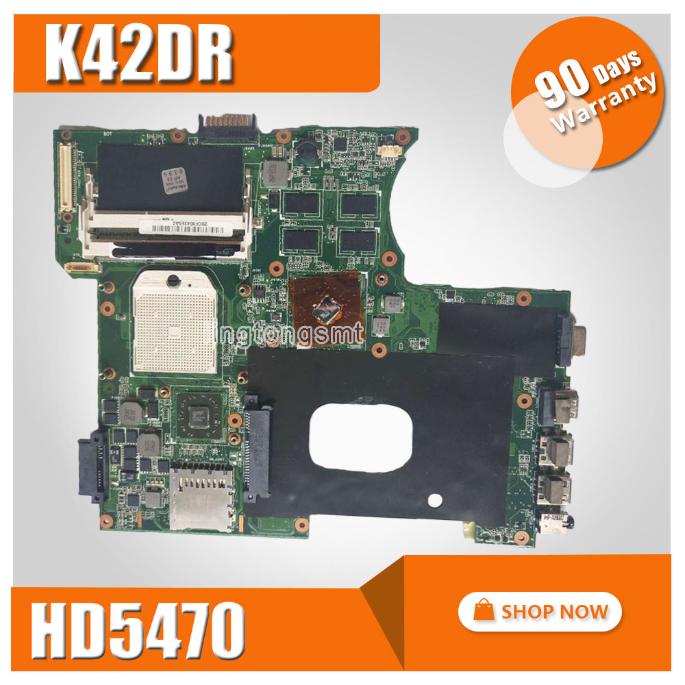 K42DR Motherboard 1GB HD5470 For ASUS A42DE K42D A42DR K42DE K42DY X42D Laptop motherboard K42DR Mainboard K42DR Motherboard k42dr hd5470 1gb mainboard rev 2 3 for asus a42d k42d k42dy k42dr laptop motherboard 2 slots 100% tested working free shipping