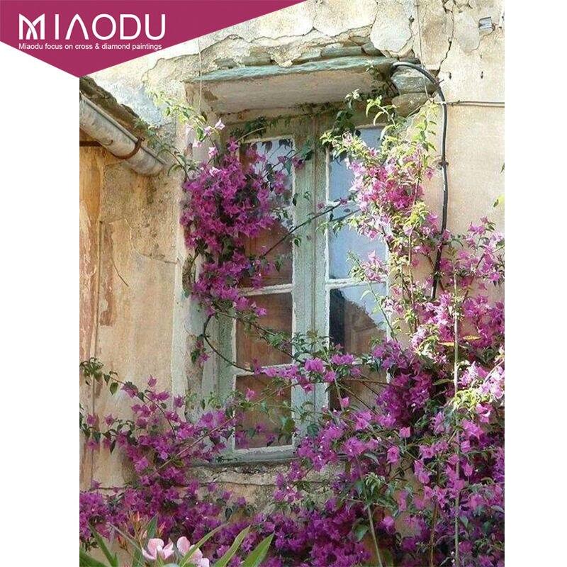 Miaodu 3D вышивка с окном и пейзажами, сделай сам, алмазная живопись 5D, наборы для вышивки крестиком, мозаичные картины, наклейки на стену, Свадебный декор