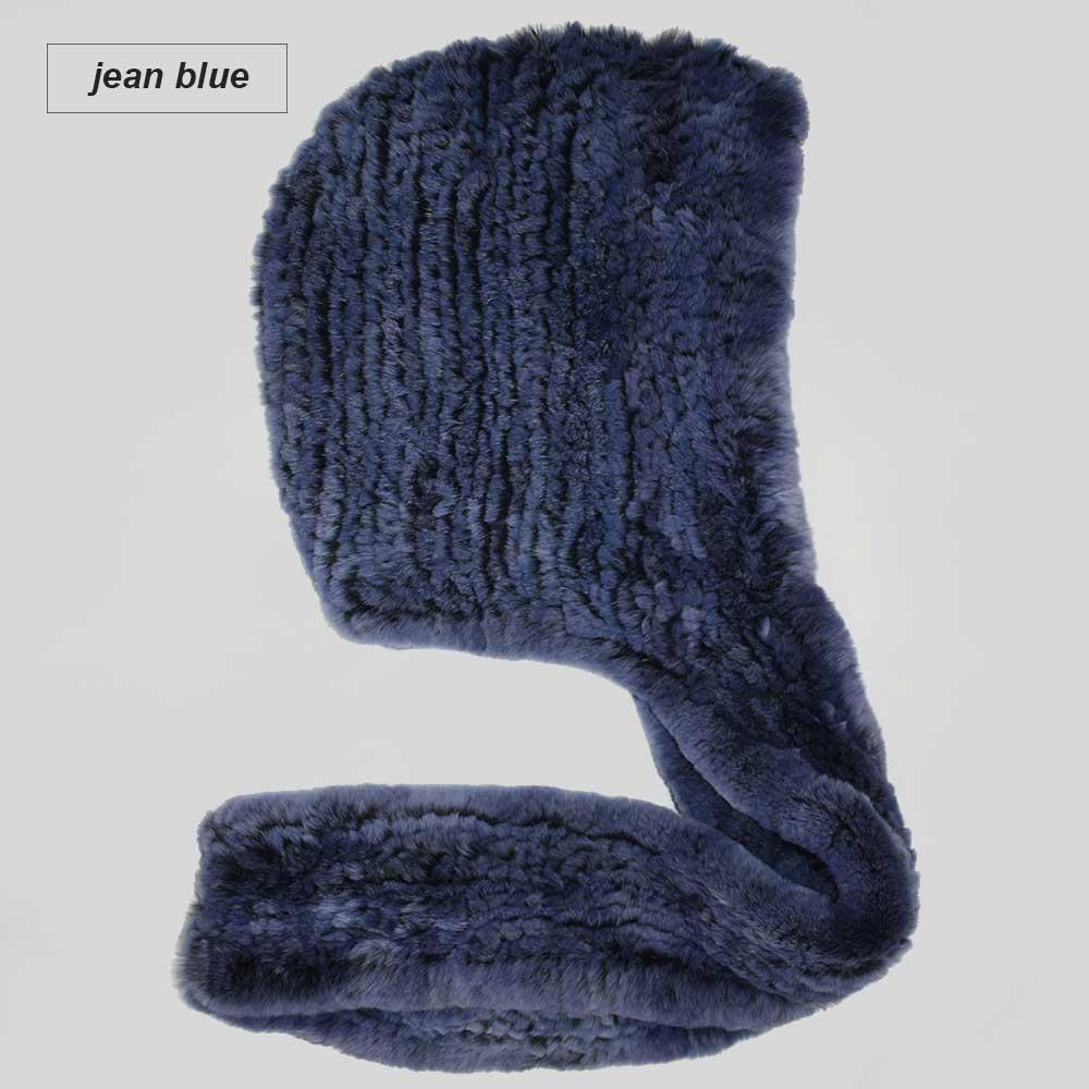 knit rex fur scarf jean blue