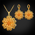 Women Flower Earrings and Necklace Set Wedding Jewelry Accessories Hollow Carve Flower Necklace Luxury Gift Wholesale S006