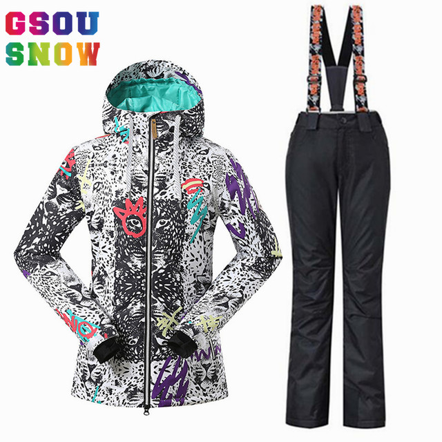 Online Shop GSOU SNOW Brand Women Ski Suit Snowboard Jacket Pants ... d0edf488a