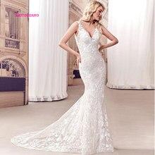 LEIYINXIANG Elegant Popular New Arrival Wedding Dress Vestidos De Noiva Sexy Mermaid Sleeveless Backless V-Neck Appliques Lace