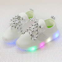 High Quality Colorful Lighted Baby Casual Shoes Patchwork Lace Up Fashion Baby Sneakers Elegant Cool Running