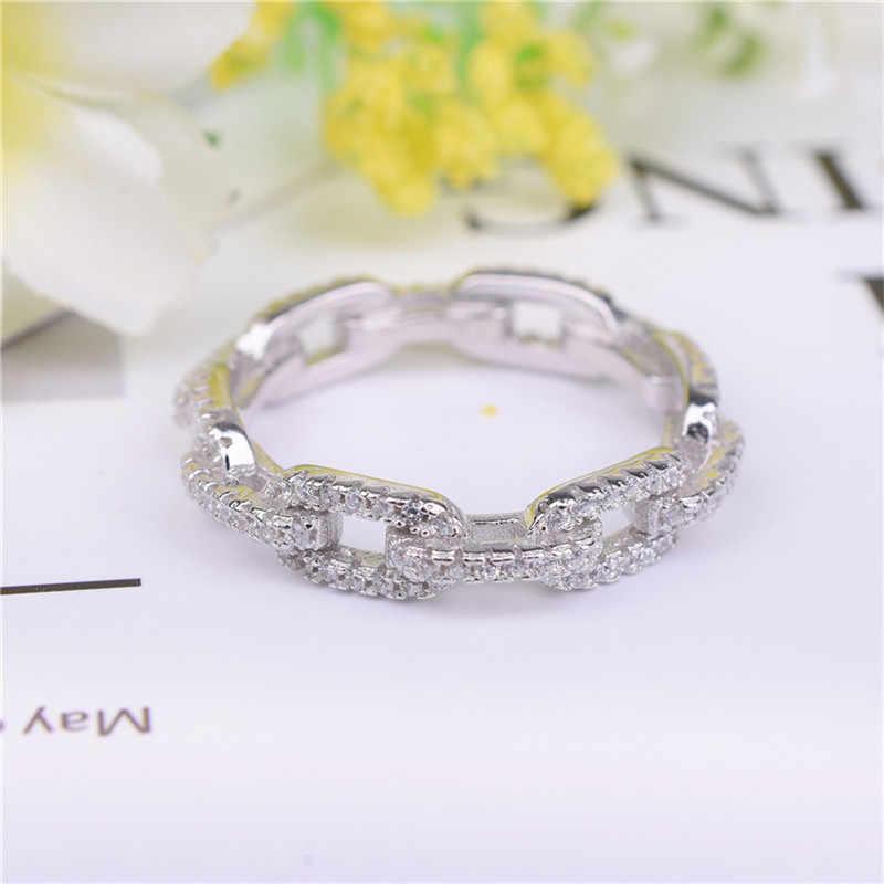 ใหม่แบรนด์แฟชั่น Hollow out Chain เต็มรูปแบบ SONA แหวนเพชรแต่งงานเครื่องประดับประกาย 925 แหวนเงินสเตอร์ลิงสำหรับผู้หญิง