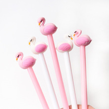 2 pcs/lot 0.5mm Creative Flamingo Swan Gel Pen Signature Pen Escolar Papelaria School Office stationery Supply Promotional Gift 1 pcs creative botanic cactus cartoon gel pen black ink 0 5mm signing pen school office supply gift stationery papelaria escolar