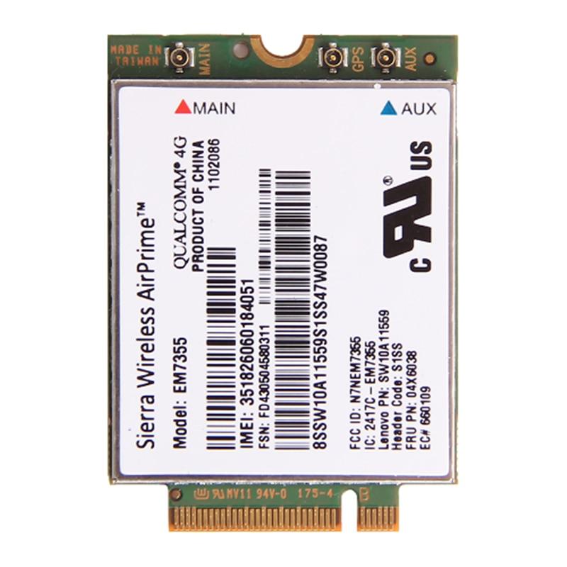 Sierra Gobi5000 EM7355 LTE 4G WWAN FRU 04X6038 NGFF Wifi Card For Lenovo T440 X240 W540 T440P T431S new unlock sierra wireless gobi5000 em7355 lte evdo hspa 42mbps ngff card 4g module for hp lt4111 wwan 704030 001 wcdma card