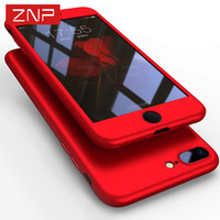 ZNP 360 Degree Full Cover Red Case For IPhone 6 6s 7 Plus With Tempered Glass