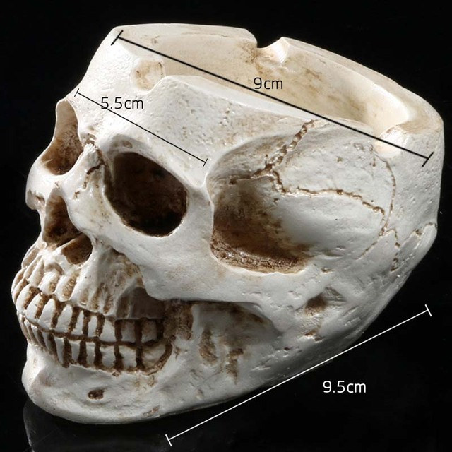 1 Piece Skull Ashtray Ornaments Toys Adult Resin Home Funny Novelty Toys Decoration Halloween Skull Personality Appliances