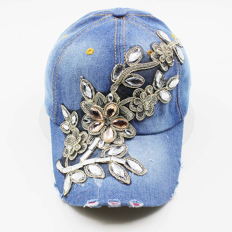 2c30e73e78b New Fashion Women Denim Baseball Caps Top Casual Rhinestone Caps ...