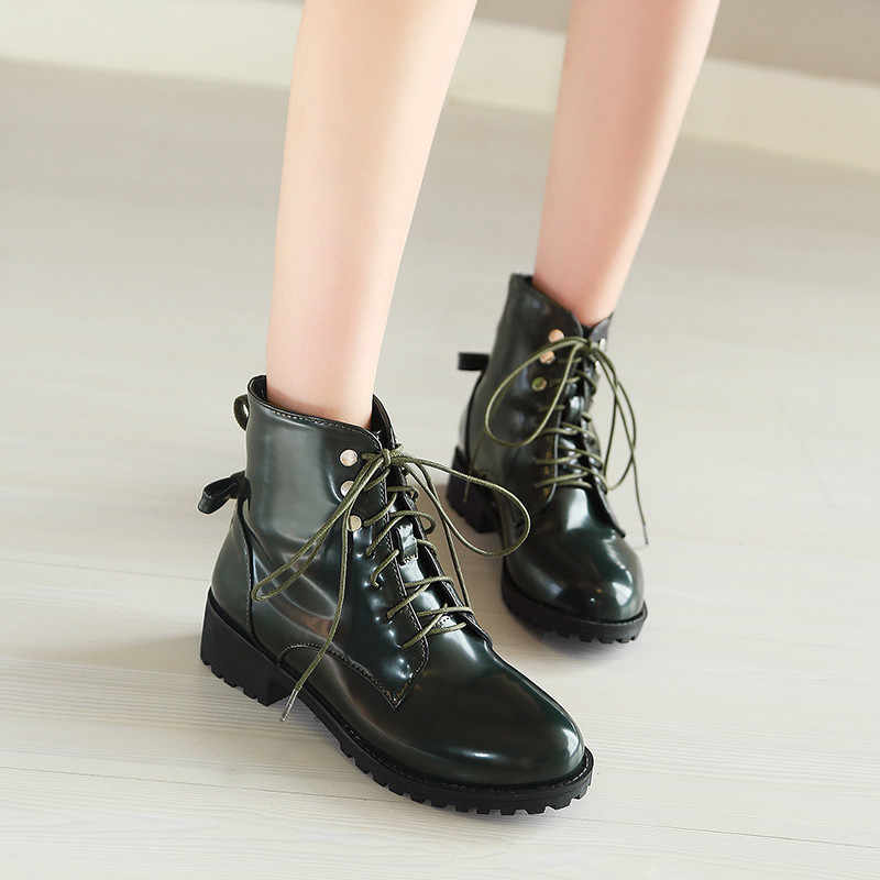 YMECHIC Woman Lace Up Ankle Motorcycle Boots Chunky Med Heels Pu Patent  Leather Blue Green Ladies 3d6e437f2a88