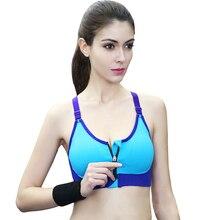 Sports Bras Zipper Adjustable Strap brassiere sport Seamless Bra Shockproof Sportswear For Women Running Fitness Top
