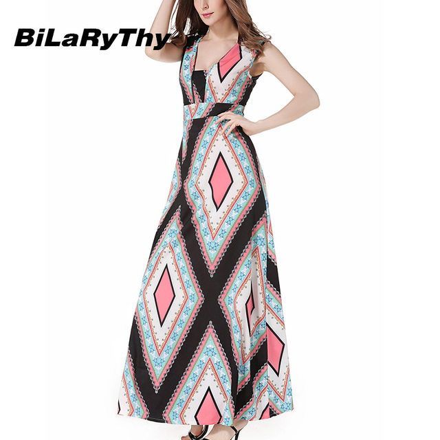 033daad0f10 BiLaRyThy Women s Summer Bohemian Long Dress Square Collar Sleeveless High  Waist Geometric Printed Maxi Dresses