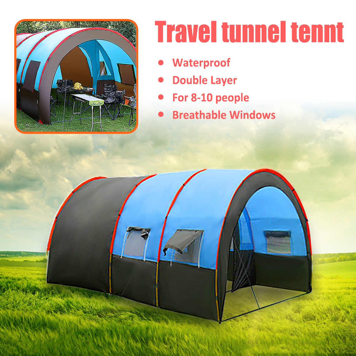 More Useful 8-10 People Waterproof Portable Travel Camping Tent Hiking Double Layer Oxford Cloth High Strength Outdoor Tents mobi outdoor camping equipment hiking waterproof tents high quality wigwam double layer big camping tent
