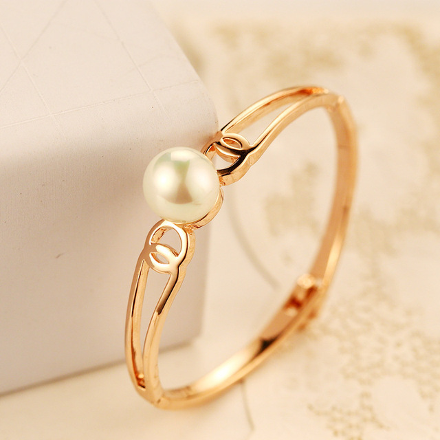 Love High Fashion Jewelry ABS Pearl Bangle Cuffs Bracelet European Style Popular Rose Gold Bangles bracelets femme wedding gifts
