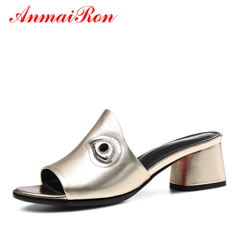ANMAIRON Summer Open Toe Shoes Woman Med Heels Slingback Sandals Women Slides Outside Slippers Women Silver Gold Fashion Shoes phyanic 2017 gladiator sandals gold silver shoes woman summer platform wedges glitters creepers casual women shoes phy3323