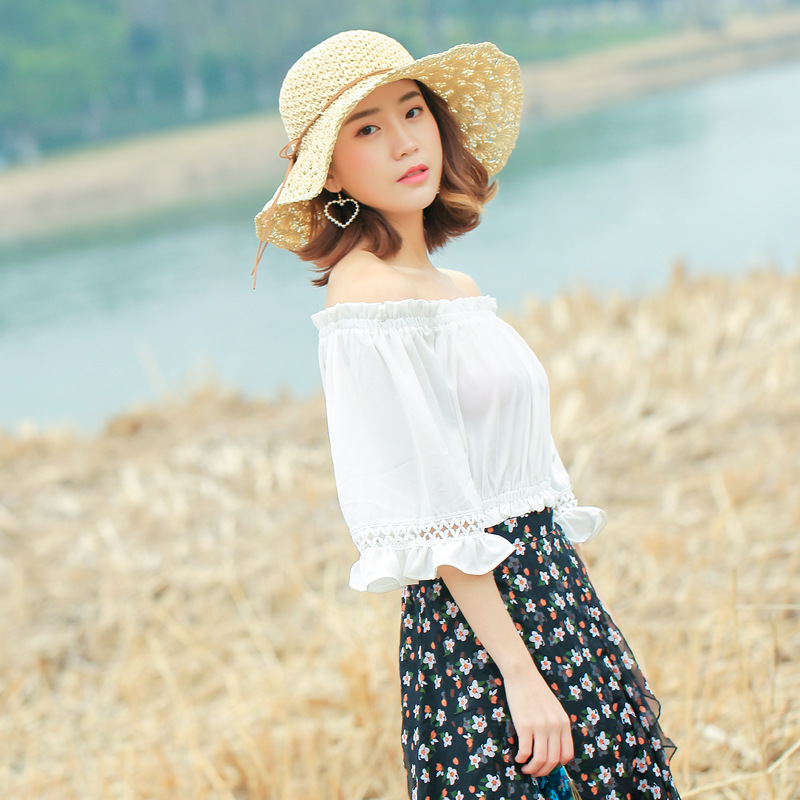 Summer Hollow Hats For Women Straw Sun Hat Lady Girls String Bow Beach Hat Floppy Sunsha ...