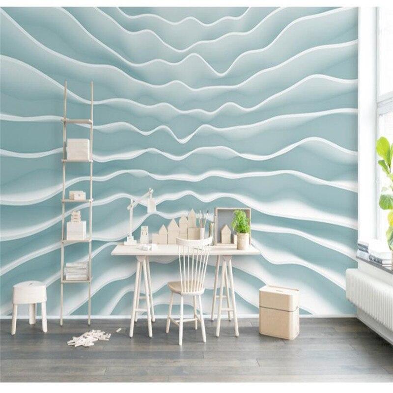 US $12.99 |Benutzerdefinierten Hintergrund Fototapete 3D Geometrie Wave Art  Wandverkleidung TV Sofa Schlafzimmer Wandbilder Moderne Tapete ...