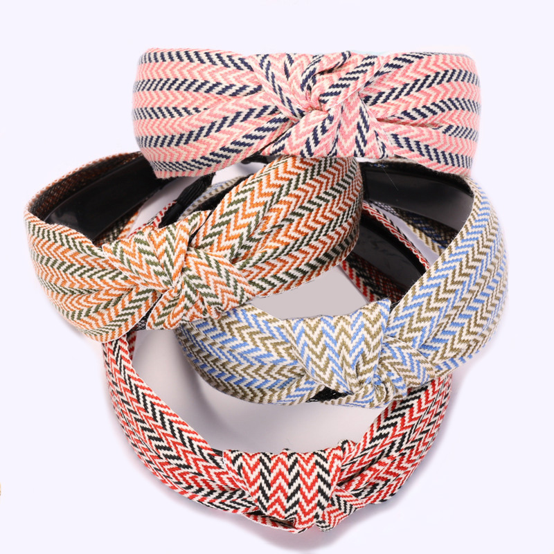 Wholesale Sweet Herringbone Headband for Women and Girls Korean Hair Accessories Fashion Vintage Top Knot Hairbands
