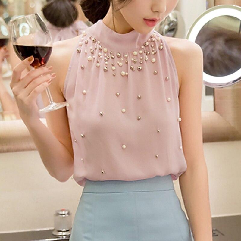 Summer Blouses Shirts Top Women Chiffon Blouse Bead Korean Sleeveless Halter Turtleneck Temperament Office Lady Elegant Shirt 3