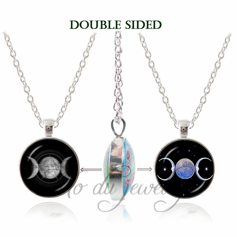 Moon Goddess Wiccan Double Face Pendant Glass Dome Choker Necklace