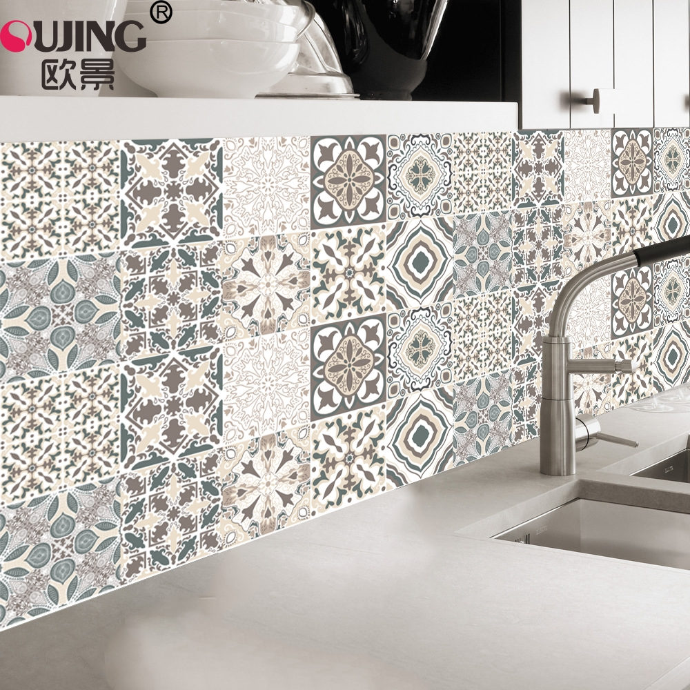 Traditional Ornate Portuguese Style PatternTiles Wall Stickers Furniture Decoration Waist Line Wallpaper Mandalas Tile Art Mural