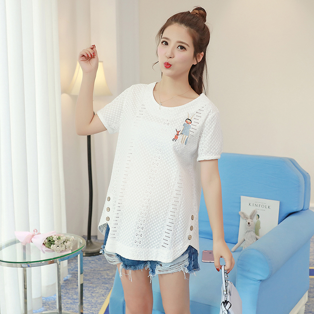 9bb65d0d421 966  Hollow Out rochet Cotton Maternity Blouses Summer Fashion Shirts  Clothes for Pregnant Women Sweet Korean Pregnancy Tops