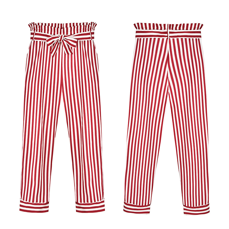 Women Casual High Waist   Pants   Striped Bow Tie Drawstring Elastic Waist   Pants     Capri   Pockets Office Wear Trousers WS9503V