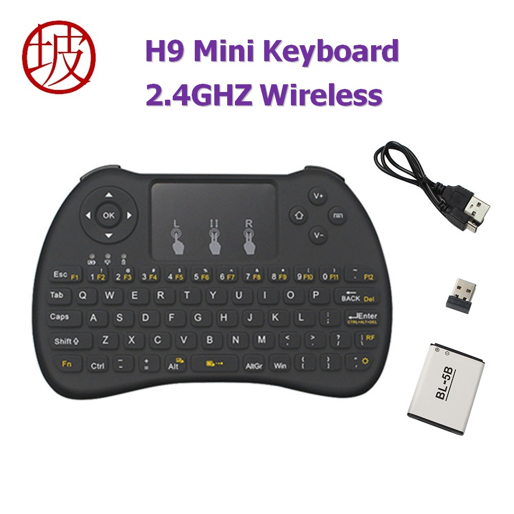 H9 Mini Keyboard 2.4GHZ Wireless Touchpad Mouse Gaming Keyboards for Android TV Box PC Laptop Tablet Orange Pi Plus Raspberry Pi 2 4g mini wireless keyboard touchpad numeric keyboard charging switch screen for desktop laptop table